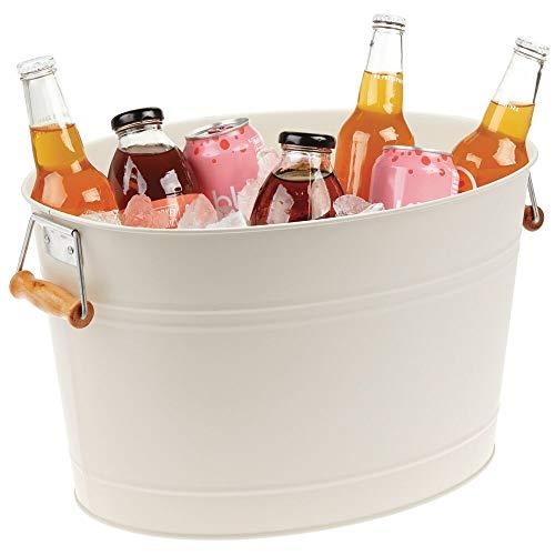 mDesign Champanera de Metal – Enfriador de Botellas Decorativo con Asas – Ideal como Cubo para Enfriar Bebidas como Vino, Cerveza, Cava o refrescos – Crema/Beige