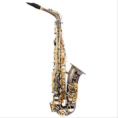 Alt Saxophon Schwarzes Nickel Gold Lackiertes Be Flache Sax Abalone Muschelknopf die Taste spielt Typ Holzblasinstrument.