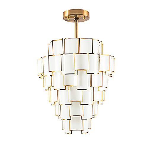 QTQZ Candelabro Moderno Lámparas de candelabro de Azulejos de 6 Capas candelabro Redondo iluminación empotrada en el Techo Sala de Estar Comedor Dormitorio Comedor, lámpara E14 * 40, Dorado