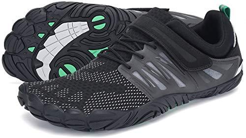 SAGUARO Barfussschuhe Herren Fitness Traillaufschuhe Barfuß Laufschuhe Männer Outdoor Zehenschuhe Five Finger Schuhe St.2 Schwarz 44