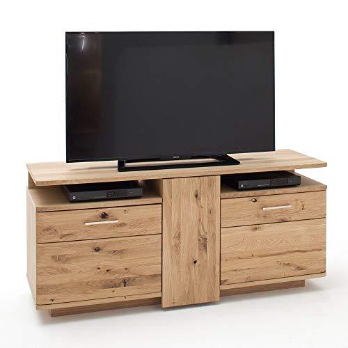 Lomadox Massivholz TV-Lowboard 150cm mit 3 Türen, Asteiche Bianco massiv geölt
