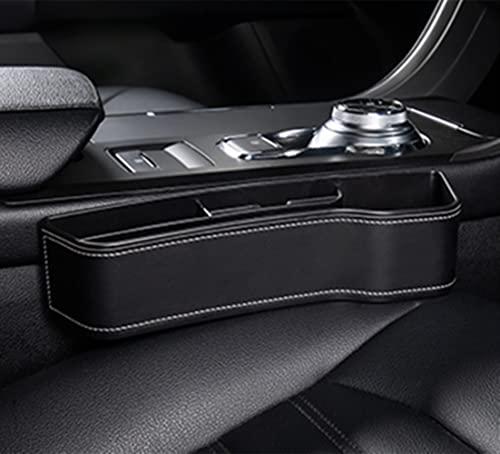 reshare - Organizador de asiento de coche delantero para almacenamiento interior, accesorios organizadores, caja de almacenamiento de piel sintética - Negro Lado Co-Pilote