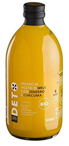 Infuso di Aceto di Mele Biologico Non Filtrato Non Pastorizzato con Zenzero, Curcuma e Peperoncino Deto Andrea Milano - 500 ml
