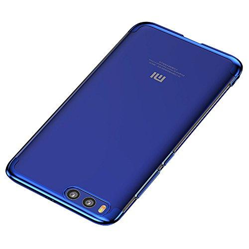 BLUGUL Funda Xiaomi Mi 6, Electroplating Coloring, Ultra Fina, Transparente Suave TPU Silicona Cover Claro Case para Xiaomi 6 Azul