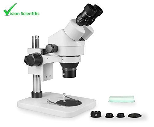 Vision Scientific VS-1EZ Binocular Zoom Stereo Microscope, Paired 10x Widefield Eyepiece, 0.7X—4.5X Zoom Range, 3.5X—90x Magnification Range, 0.5X & 2X Auxiliary Lens, Pillar Stand