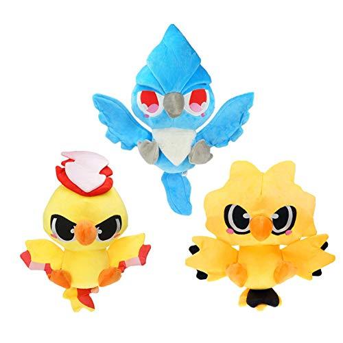 WEICHUANG 3Pcs / Pokemon Plüsch Kuscheltier Legendäres Vogel Pokemon Articuno Moltres Zapdos Plüschpuppe Für Kinder 30Cm, Kindergeburtstagsgeschenke Und Sammlerstücke