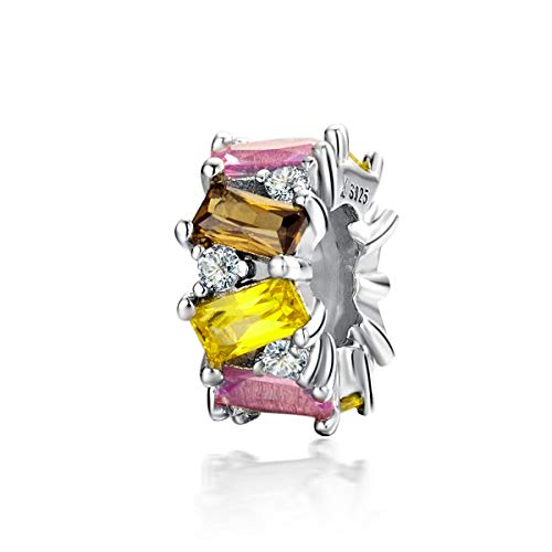 Abalala - Abalorio espaciador de plata de ley 925 con cierre de clip de silicona para pulseras y collares Pandora de 3 mm
