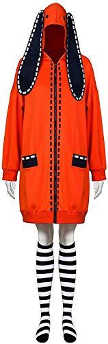 YBINGA Traje de cosplay Yomoduki naranja conejo Masquerade Trajes adulto Compulsivo Gambler Mujer Sudadera con capucha abrigo con calcetines Accesorios Cosplay (talla L: