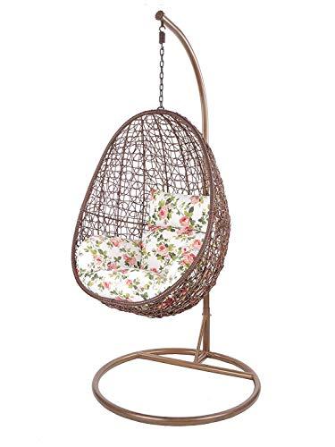 Kideo Swing Chair, Lounge-Möbel, Loungesessel Polyrattan, Hängestuhl, Hängesessel mit Gestell & Kissen (braun/geblümt)