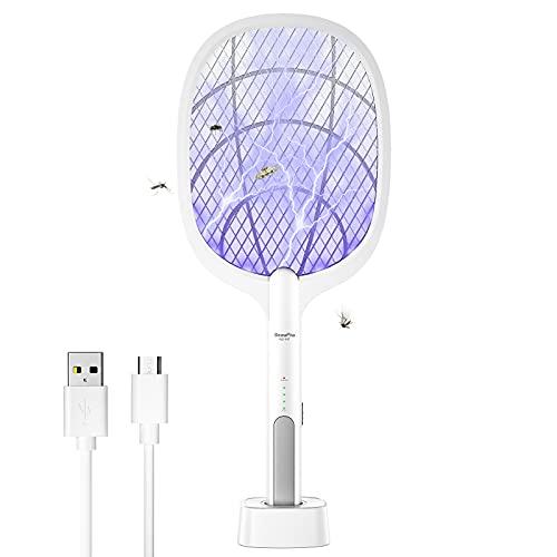 BeauFlw Elektrische Fliegenklatsche, 2 in 1 Fliegenfänger Zapper 4000V USB Fliegenklatsche Elektrisch Moskito Killer mit Ladebasis, UV/LED Licht für Mücken, Fliegen, Bienen, Motten