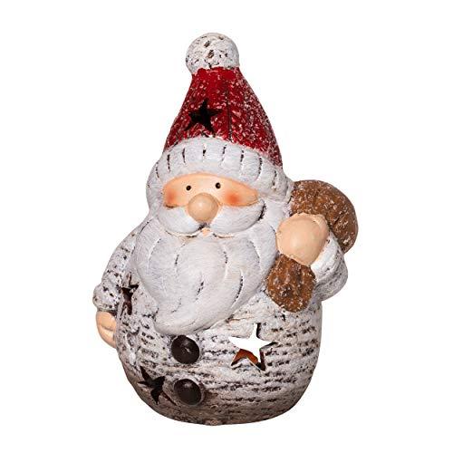 Gnomo - Portacandela antivento in ceramica, motivo: Babbo Natale