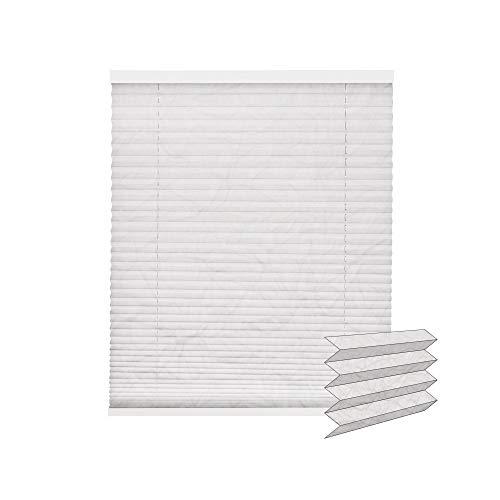 Victoria M. Crush Store plissé avec Lot de Support pour Fixation sans percer, 100 x 240 cm, Blanc