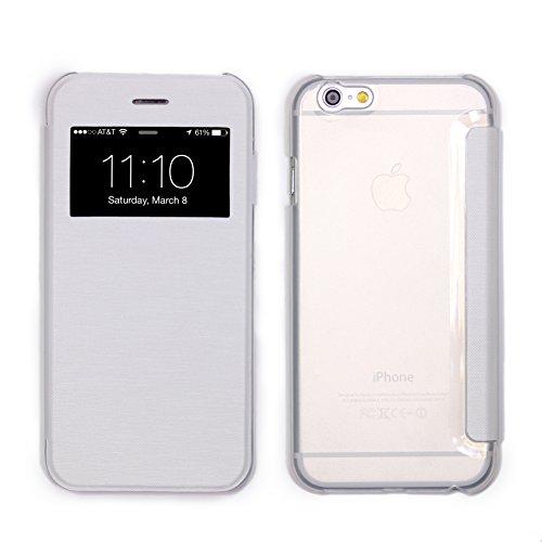 Urcover® View Case kompatibel mit Apple iPhone 6 / 6s [ Transparente Rückseite ] Weiß Handyhülle Transparent Case Schutz Hülle Cover Handytasche