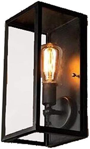 Despeje Lámpara de pared Negro Vintage Industrial E27 Socket Soltera Llama Max 40 Watt Lámpara de pared Hierro con pantalla de vidrio Foco de pared para Cafetería Restaurante Dormitorio Sala de estar