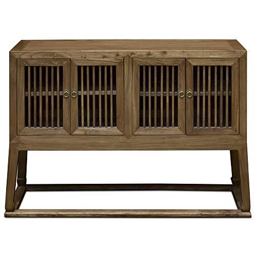 China Furniture Online Elmwood Oriental Sideboard, Mandarin Peking Style in Light Walnut Finish