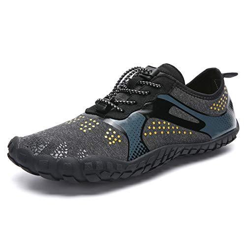 Zapatos de Agua Hombres Mujeres Calzado Acuático Seco Rápido Anfibio Deportes Unisex Escarpines Ligero Suela Duradera para Senderismo Buceo Natación Surf Playa Piscina (44 EU, Negro61)