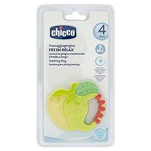 Chicco Fresh Relax, Anillo de Dentición para Encías Sensibles, Mordedor Bebé Refrigerante con Empuñadura Ergonómica - 1 Pieza, Colores Surtidos, Mordedor Bebés 4 Meses, Diseño Manzana o Fresa