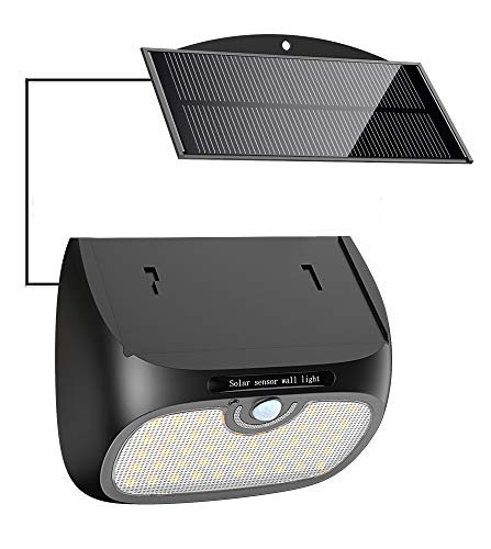 Cocoda Luz Solar Exterior, 48 LED Foco Solar de Seguridad [Panel Solar Separable] con Sensor de Movimiento, Luz Solar Impermeable para Jardin/Patio/Valla/Escaleras/Camino/Interior/Exterior