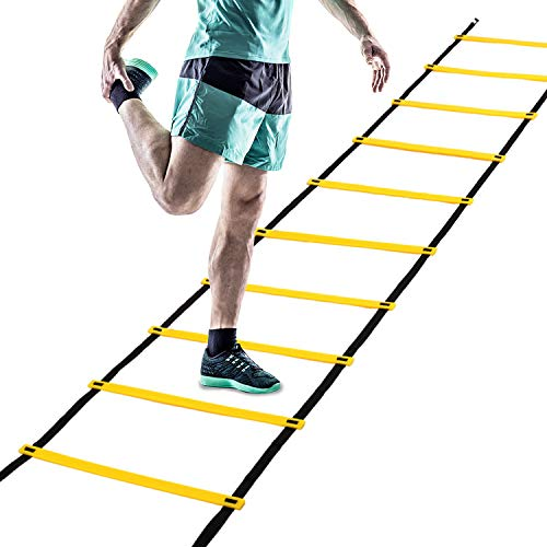 speed ladders Professional Speed Agility Ladder for Teens - 13 Rung 22ft Adjustable Sport Practise Agility Training Ladder with 1 Carry Bag, Ideal for Soccer, Speed, Football Fitness Feet Training