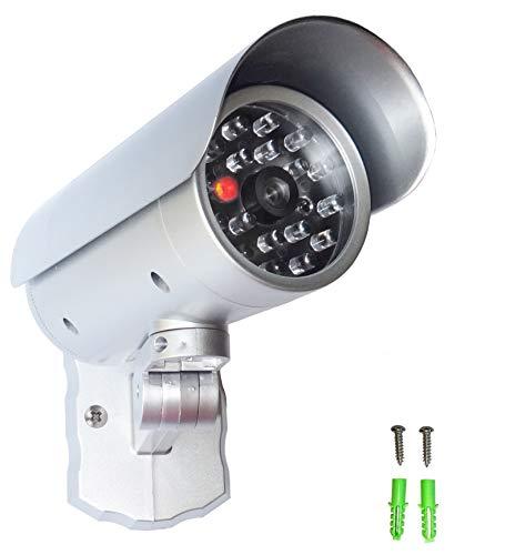 Dummy Kamera, Überwachungskamera Attrappe mit rotem LED Licht, Bewegungssensor in wettergeschütztem Gehäuse, Fake-CCTV-Sicherheitskamera für In- und Outdoor