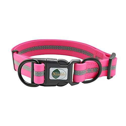 "NIMBLE Dog Collar Waterproof Pet Collars Anti-Odor Durable Adjustable PVC & Polyester Soft with Reflective Cloth Stripe Basic Dog Collars S/M/L Sizes (Large (15.35""-24.8""inches), Pink)"