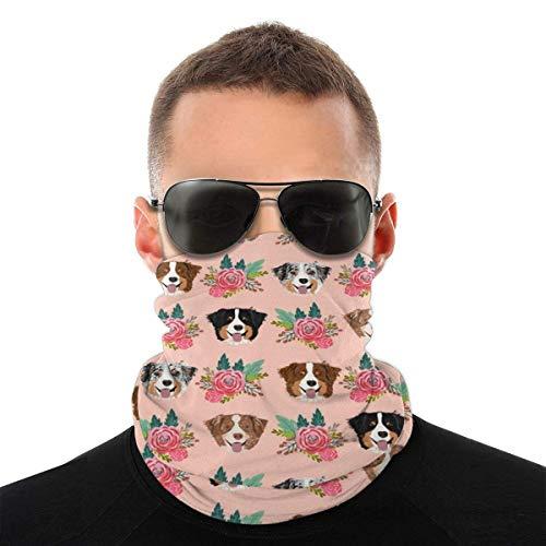Máscara facial para hombres y mujeres, Border Collie, máscara floral de media cara, protección contra el sol, UV, polvo, viento, transpirable, bufanda para cuello, polaina, color blanco y negro