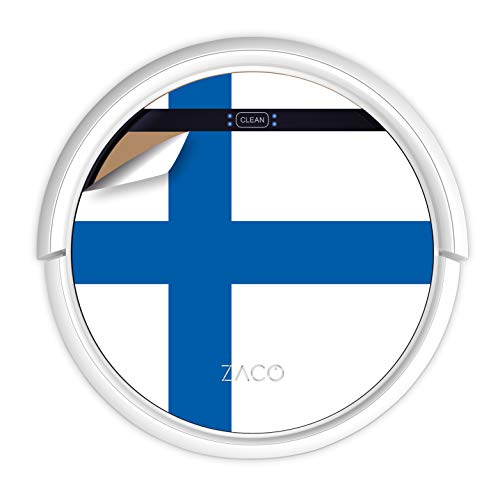 ZACO V5sPro Robot aspirador y fregasuelos, aspirar y fregar hasta 180m2, para suelos duros, madera, parquet y alfombras, sin bolsa, mando a distancia, 300ml, para pelos de mascotas, bandera finlandesa