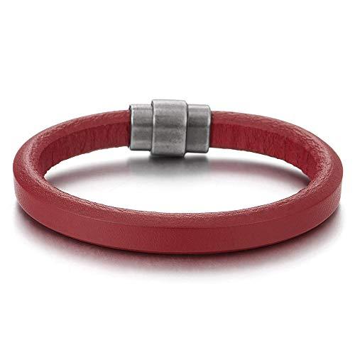 iMETACLII Minimalista Rojo Cuero Pulsera para Hombre de Mujer, Pulsera Cuero, Cierre Magnético
