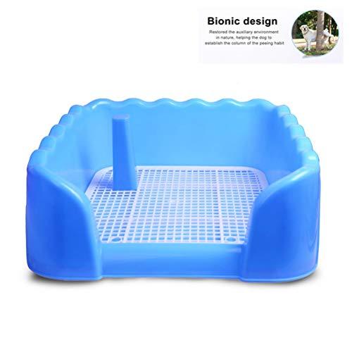 Bandeja higiénico perro mascota portátil con columna Urinario Tazón de formación del tocador del pis Malla de perro de mascota grande y Medianas,Azul,L