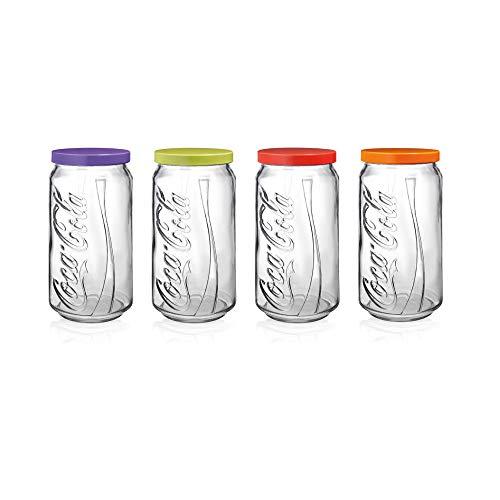 Pote com Tampa Coca-Cola Pasabahçe Transparente, Cores sortidas, 1 unidade