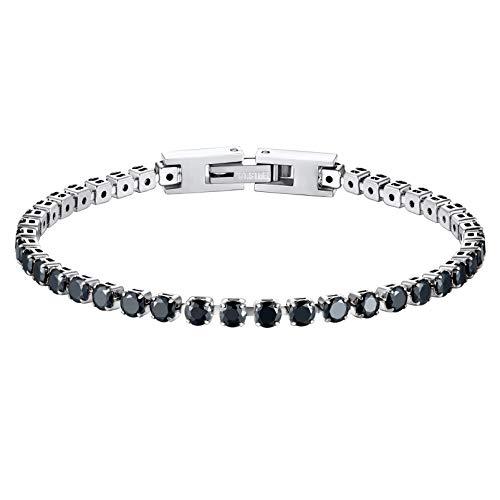 PROSTEEL Sparkling Tennis Bracelet Black 19CM
