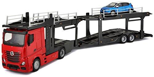 Bburago 1: 43Maßstab B18–31456of a Mercedes-Benz Actros multicarrier mit einem zusätzlichen Auto auf der Rückseite