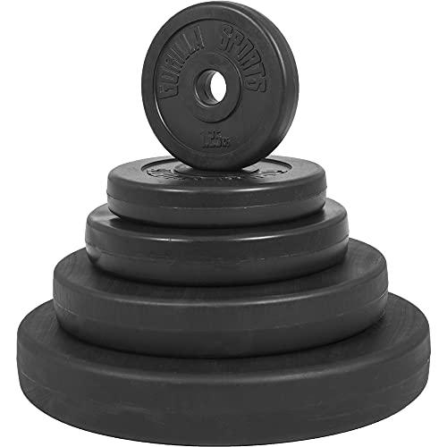 GORILLA SPORTS® Hantelscheiben-Set 30 kg Kunststoff – 2 x 5 kg, 2 x 10 kg Gewichte mit 30/31 mm Bohrung
