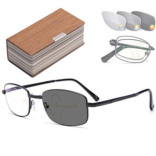 Progressieve multifocale leesbril Transition meekleurende donkergrijze zonnebril, dual-use voor buiten UV-bescherming, computer leesbril, schittering verminderen 1.0,1.5,2.0,2.50
