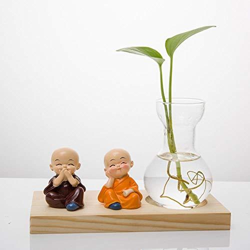 FICI Creative Gedroogde bloem glasdecoratie Persoonlijkheid Hydrocultuur Plant Gedroogde bloempot Desktop Woonkamer Decor, Geel
