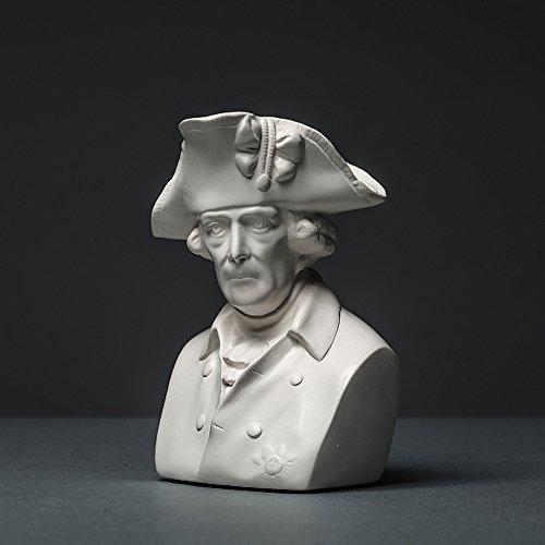 Friedrich II Skulptur aus hochwertigem Zellan, echte Handarbeit Made in Germany, Figur Geschenkidee, Büste in weiß, 10cm