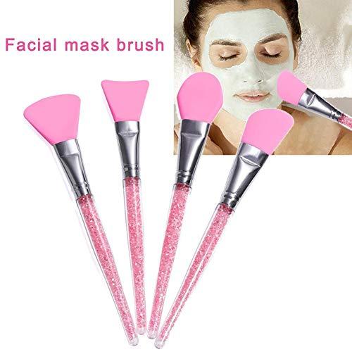 funnyfeng Brosse de Masque, 4Pcs Brosse Cosmétique en Silicone, Brosse d'Applicateur de Masque Facial, Pinceaux de Maquillage Souple, Rose/Bleu/Jaune