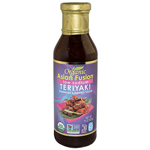Organic Asian Fusion Low Sodium Teriyaki Sauce- USDA Organic, Non GMO Project Verified, Gluten Free, Kosher Parve, Made in USA, 15 Oz.