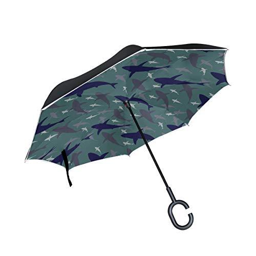 Doppelschicht-umgekehrter Klappstuhl Regenschirm Netter Fisch Kinder-Wende-Regenschirm Winddichter Wende-Regenschirm mit C-Griff Winddichter UV-Schutz für Regen mit C-förmigem Griff
