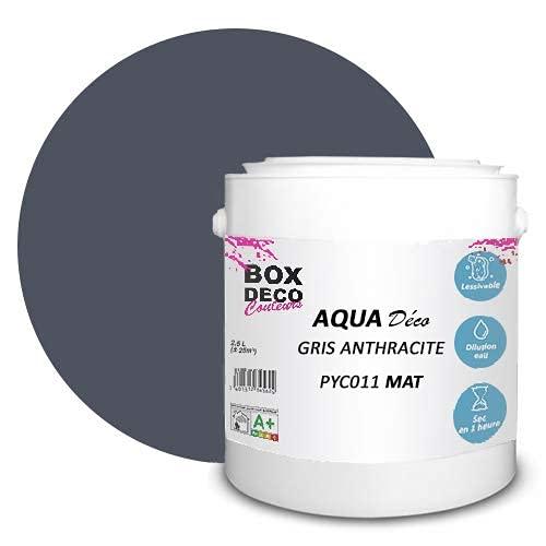 Peinture acrylique aspect mat Aqua déco - Murale - 44 couleurs - 2,5 L - 25 m² (Gris anthracite)