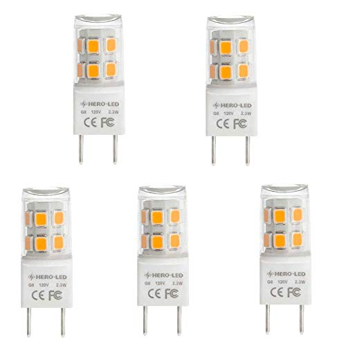 HERO-LED G8-17S-WW27 T4 G8 LED Halogen Xenon Replacement Light Bulb, 2.3W, 20W Equivalent, Under-Counter Lights, Puck Lights, Warm White 2700K, 5-Pack(Not Dimmable)