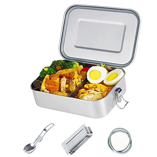esafio Edelstahl Brotdose 1400ml Auslaufsicher mit Trennwand Zwei Dichtringen Plastikfreie Premium 304 Stahl Metall Lunchboxes & Bento Boxen für Kinder & Erwachsene