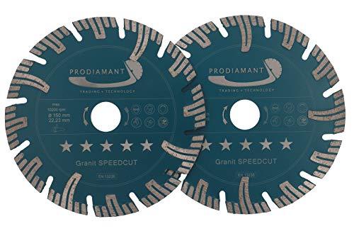 PRODIAMANT Profi Diamant-Trennscheibe Granit SUPER SPEED CUT Doppelpack 150 mm x 22,2 mm Diamanttrennscheibe Mauerschlitzer 2x PDX826.050 150mm