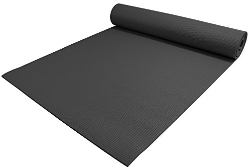 "YogaAccessories 1/4"" Thick High-Density Deluxe Non-Slip Exercise Pilates & Yoga Mat, Black"