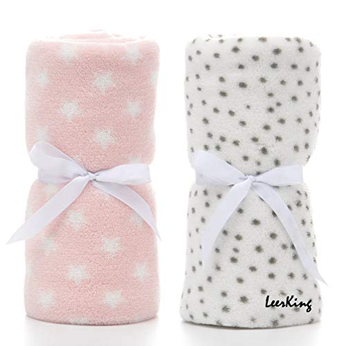 LeerKing 2 Pack Ultra Soft Baby Blankets, Comfortable Coral Fleece Plush Blankets for Infant Toddler, Gifts for Newborn, 30 x 40 Inches,Grey Dot & Pink Star