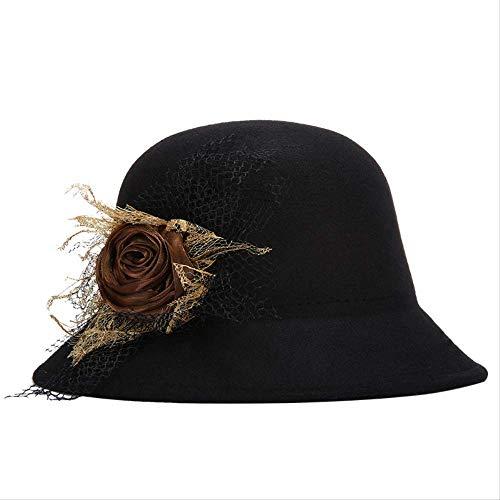 LGYJAL Herbst Und Winter Wolle Zylinder Damen Hut Mode Weibliche Hut Hut Becken Hut Sonnenhut schwarz