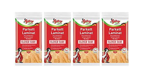 Poliboy - Parkett & Laminat Feuchttücher - gründliche, schnelle Reinigung speziell für Parkett- und Laminatböden - 4er Pack - 4x15 Tücher - Made in Germany