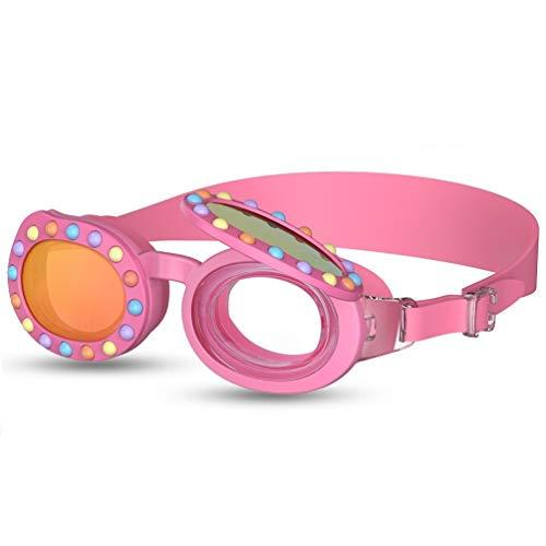 Gafas Natacion,2 en 1 Gafas de Natación para Niños Nadar Antiempañado y Anti Rayos UV, Ideal para Todo Tipo de Agua, Piscina, Deportes Acuáticos (Rosa)