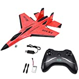 Useller Rc Plane Toy Epp Craft Foam Electric Outdoor Rtf Radio Remote Control Su-35 Tail Pusher Quadcopter Glider Airplane Model for Boy,Red