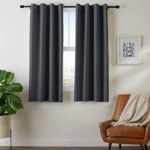 AmazonBasics Room Darkening Blackout Window Curtains with Grommets  - 42 x 63, Black, 2 Panels